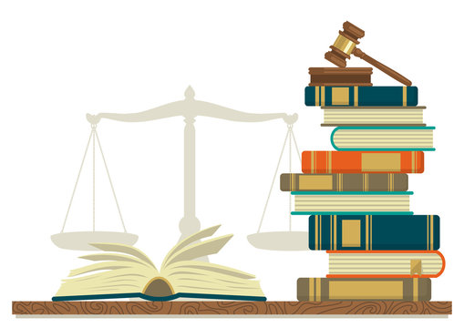 Law studies. Stack of books with glasses, open book and judge gavel on white background.