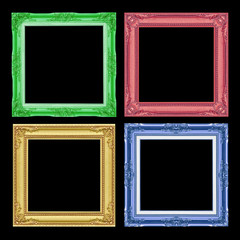 The antique colorful frame colection isolated on black  background