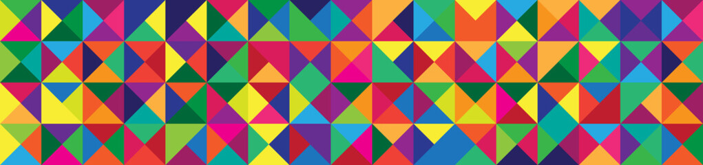 Banner with Triangle Shapes of Different colors.