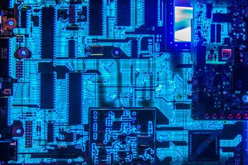 Computer motherboard glowing