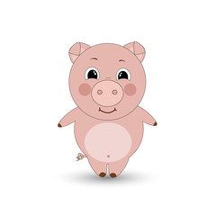 Funny pig on a white background. Vector illustration.