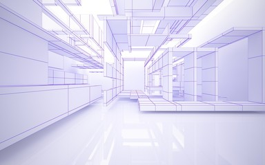 Abstract white interior highlights future. Polygon violet drawing. Architectural background. 3D illustration and rendering