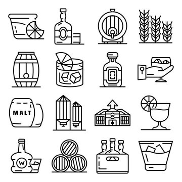 Whisky icon set. Outline set of whisky vector icons for web design isolated on white background