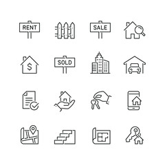 Real estate related icons: thin vector icon set, black and white kit