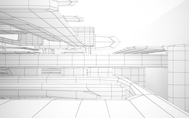 Abstract white interior highlights future. Polygon drawing. Architectural background. 3D illustration and rendering