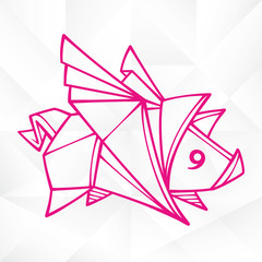 Vector Origami Flying Pig. Geometric Icon of Paper Piglet with Wings on White Background. Abstract Symbol of Animal for Stickers, Emblem or Chinese New Year 2019 Decoration. Cute graphic tattoo images