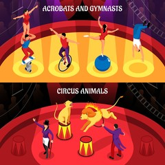 Circus Professions Isometric Banners