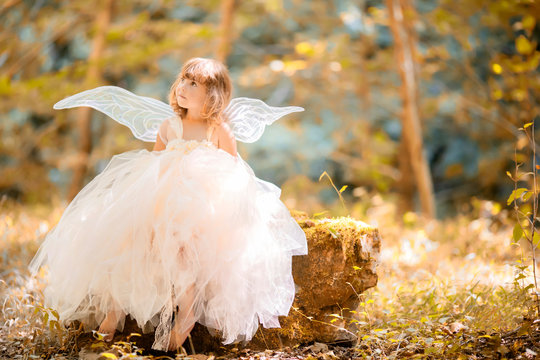 Fairy tale consept. Little toddler girl wearing beautiful princess dress with fairy wings
