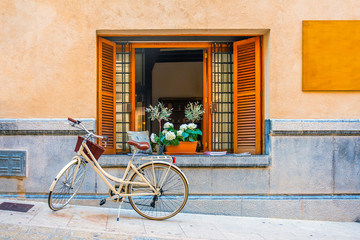 Fototapeten Fahrrad Window with brown wooden shutters, books and vases. Bicycle under the window