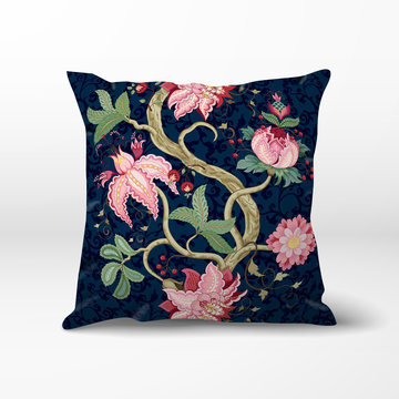 Vector pillow with dark backdrop. The motives of the paintings of ancient Indian fabrics. Tree of Life collection. Curved tree branch with fantastic flowers, leaves, tendrils and berries.