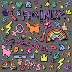 Girly doodles and hand drawn seamless pattern for feminism concept design in internet. Fancy comic feminism elements in cartoon style. Color vector illustration