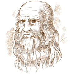 Hand drawn vector portrait. Leonardo Da Vinci
