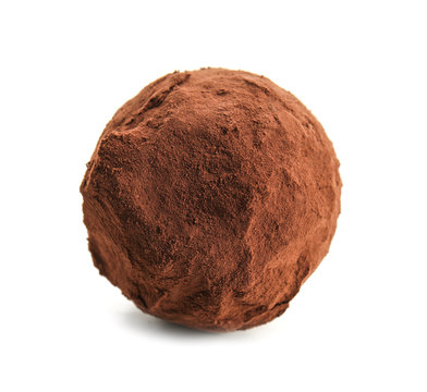 Tasty chocolate truffle on white background