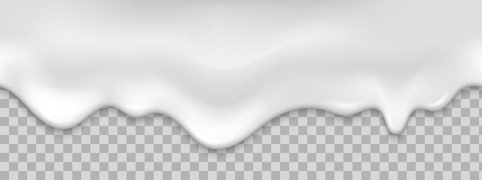 Seamless white creamy drips. Realistic vector illustration.