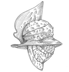 Roman helmet. Zentangle stylized. Vector illustration. Pattern. Freehand pencil. Hand drawn