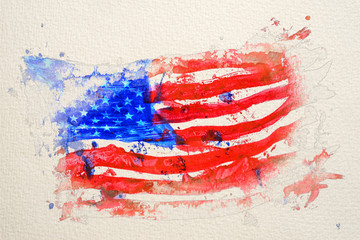 Stylized by watercolor sketch painting on a textured paper of United states of America flag painted by hand and watercolors.