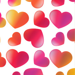 Romantic heart background. Vector illustration for holiday design. Many flying hearts on a white background. For wedding card, valentine's day greeting.