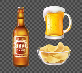 Beer in Bottle or Mug and Chips in Glass Bowl