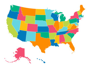 United States - Simple Bright Colors Political Map