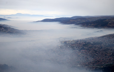 General view of the city as smog blankets Sarajevo