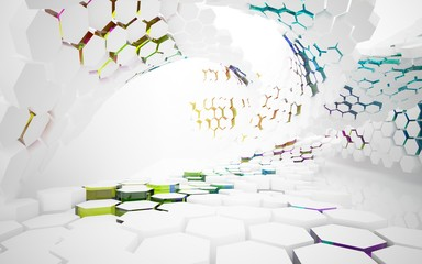 abstract architectural interior with white hexagonal honeycombs and geometric glass lines. 3D illustration and rendering