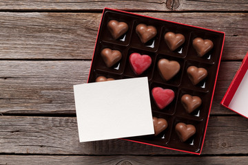 Heart shaped chocolate in box and card