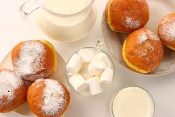 doughnut and milk on a white background