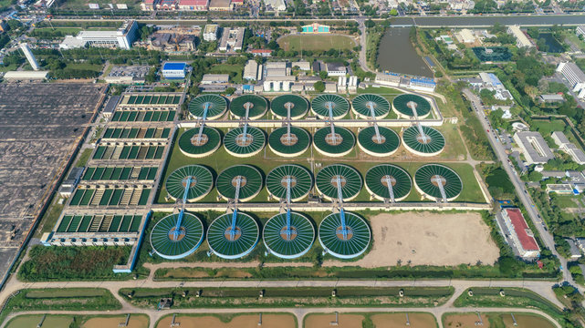 Aerial view water treatment plant for environment  or public utility concept.