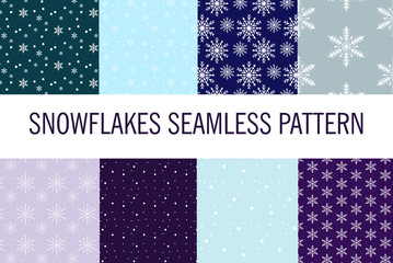 Snowflakes seamless pattern. Snow falls background. Vector illustration.