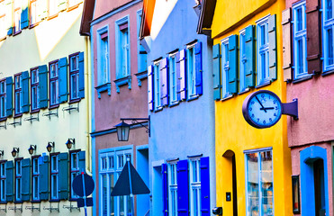 Fototapete - Traditional colorful houses of old town Dinkelsbuhl in Bavaria, Germany