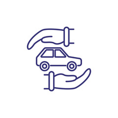 Protection of car line icon. Car between two hands on white background. Insurance concept. Vector illustration can be used for topics like auto, car insurance, protection