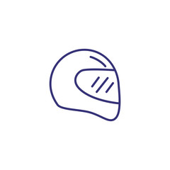 Racing helmet line icon. Headpiece on white background. Sport concept. Vector illustration can be used for topics like sport, races, active lifestyle