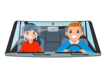 Driver vehicle passenger interior car wheel ride driving isolated flat design vector illustration