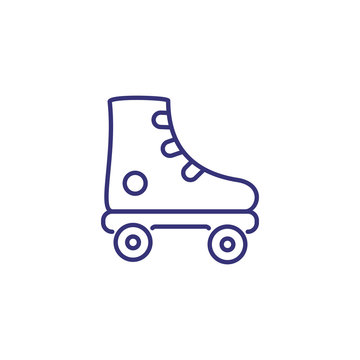 Roller skates line icon. Roller blade on white background. Sport concept. Vector illustration can be used for topics like sport, activity, lifestyle