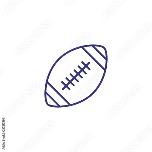 Rugby line icon  Rugby ball line icon on white background  Sport