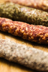 Variety of french dried sausages from Auvergne