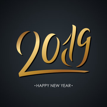 2019 golden colored handwritten inscription on black background. Creative typography for new year holiday greetings and invitations. Vector illustration.