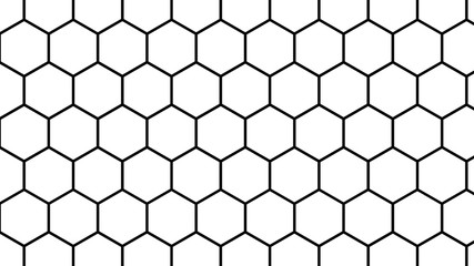 Illustration Hexagonal formation like atomic structure with the white and black color.