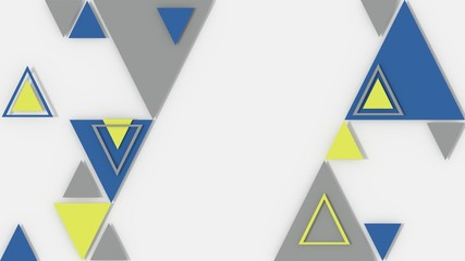 Abstract geometric background triangles with blu, yellow and silver color in 3D effect
