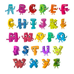 Cartoon Vector Illustration of Funny Capital Letters Alphabet