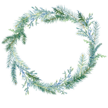 Winter watercolor painted Christmas wreath on white background.Watercolor winter painting vintage round frame with branches of juniper, Christmas trees. Traditional christmas decoration