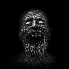 Angry zombie face on black background.
