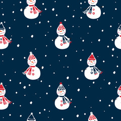 Christmas seamless pattern with cute snowmen  for gift wrap, textile, wallpapers and scrapbook. Happy New Year 2019. Doodles, sketch for your design. Vector.