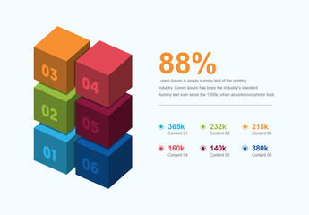Infographic Layout with Multicolored Cube Elements