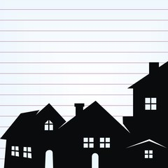 Group of houses on lined paper, concept, vector illustration