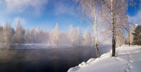 зимний пейзаж на Уральской реке с туманом и деревьями в снегу, Россия, январь