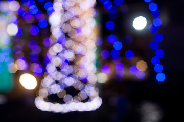 BLUE abstract bokeh background with glitter lights for Christmas and New year