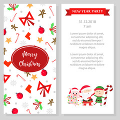 New Year party program design. White booklet with cartoon characters of Santa, cute piggy and elf. Can be used for festive program, party, invitations