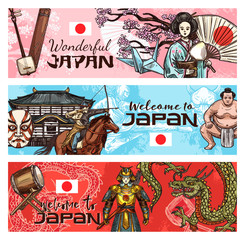Japanese travel banners national symbols of Japan