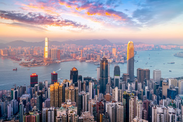 Photo sur Aluminium Hong-Kong Hong Kong City Skyline and Architectural Landscape..